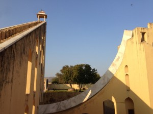 The huge sundial at Jantar Mantar, in Jaipur. The shadow falls on the curved wall, which is marked with figures.