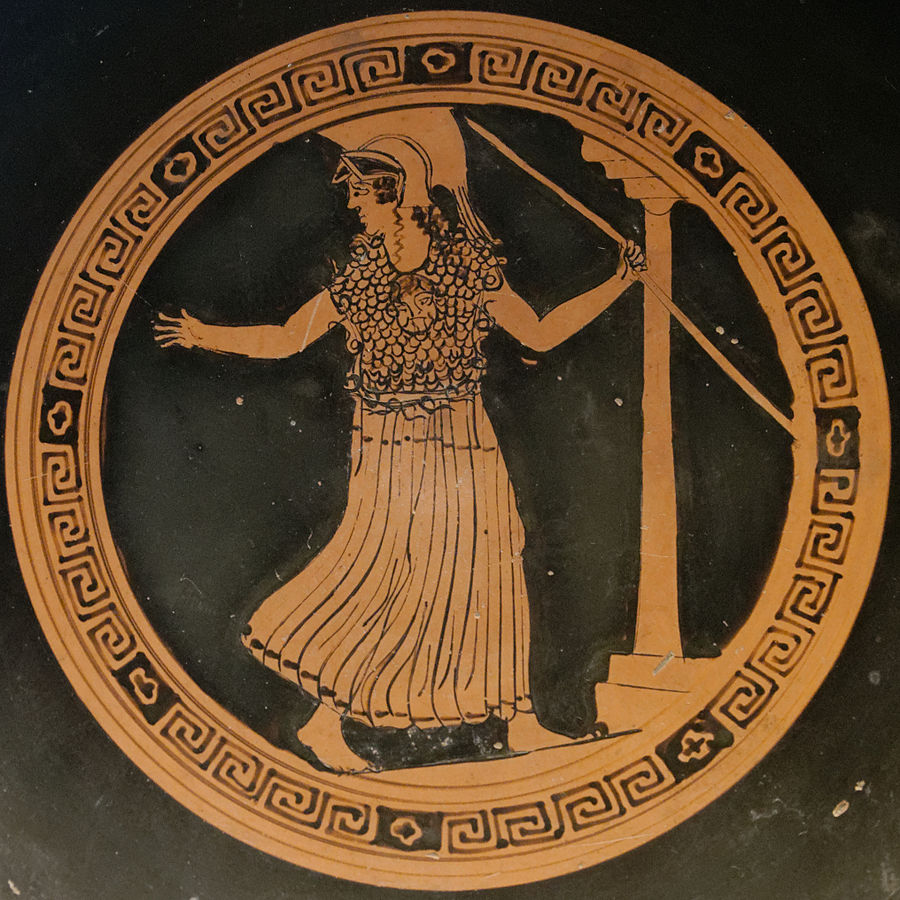 Athena, armed, holding a spear. Kylix, ca. 500 B.C.E.