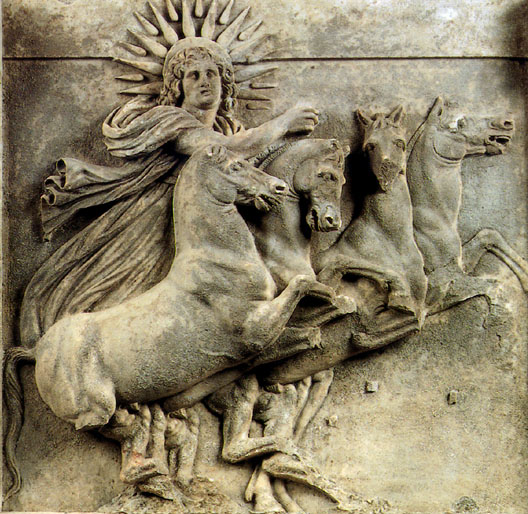 Helios driving his chariot of the sun. Metope from the Temple of Athena at Ilion, 300-280 B.C.E. Berlin, Pergamon Museum