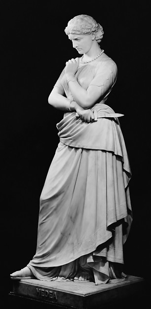 Medea with knife, contemplating the murder of her children. William Wetmore Story, 1868. Metropolitan Museum of Art.