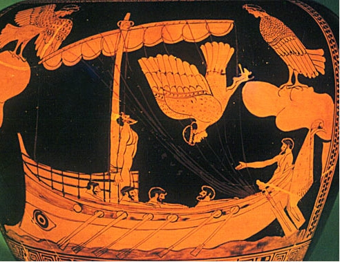Odysseus tied to the mast of his ship, listening to the song of the Sirens. ca. 480-470.