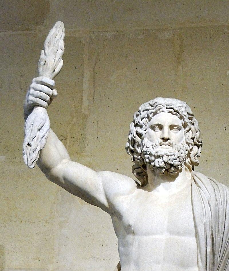 Zeus (Jupiter) brandishing a thunderbolt. Jupiter Smyrna, ca. 2nd century C.E. Louvre.