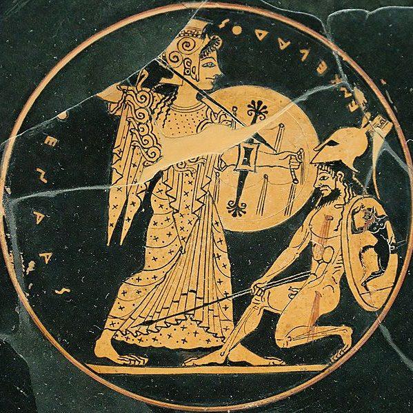 Athena vanquishing the giant Encelados