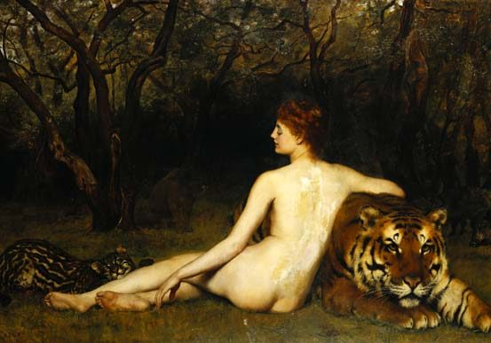 Circe, by John Collier, 1885.  Just a woman lounging naked with her tiger. (#goals). If tigers had ever been native to Europe, I'm sure Circe would have had one.